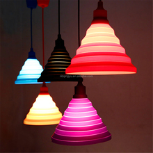 Folding Lampshade Plastic Canopy Colorful Silicone Pendant light for home decoration
