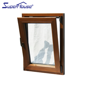 Swing opening type doors and windows aluminum clad wood tilt and turn window for luxury house