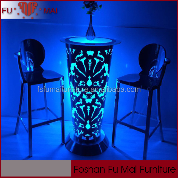 Light up stainless steel base bar table round with remote control