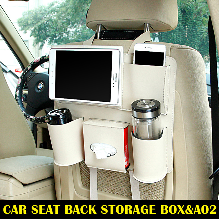 Beige <strong>A02</strong> Universal Auto Car Back seat Backseat organizer storage bag Pocket Phone iPad Cup holder Tissue box Umbrella bag