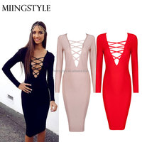 woman bodycon cocktail formal bandage dresses , long sleeve one-piece latest dress designs party dress for ladies