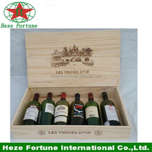 Strong wooden material 6 pack bottle carrier, take away box for wine