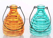 hanging Colorful Swarm Catcher Glass Candle Holder Storm Lantern glass oil lamp With Handle