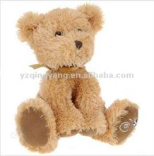brown small teddy bear plush toy with embroidery in the paw