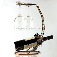 Grape Leaf bronze-colored wire iron wine bottle holders with glass display racks