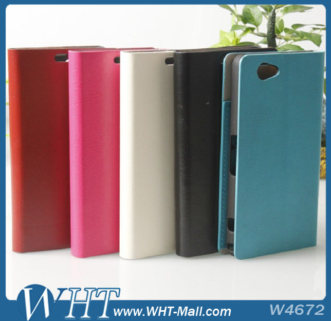 Flip Case For Sony Xperia l .For Sony Xperia Z1 Mini Wood Pattern Leather Wallet Case Wholesale&Retail