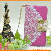 For S3 mini phone case,beautiful leather case with chain