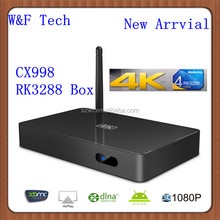 2014 Newest Hot Selling Quad Core CX998 TV Box RK3288 Android 4.4 With Newest XBMC Support 4K TV H.265 Android TV Box RK3288