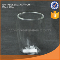 200ml hot sale clear double glass cup