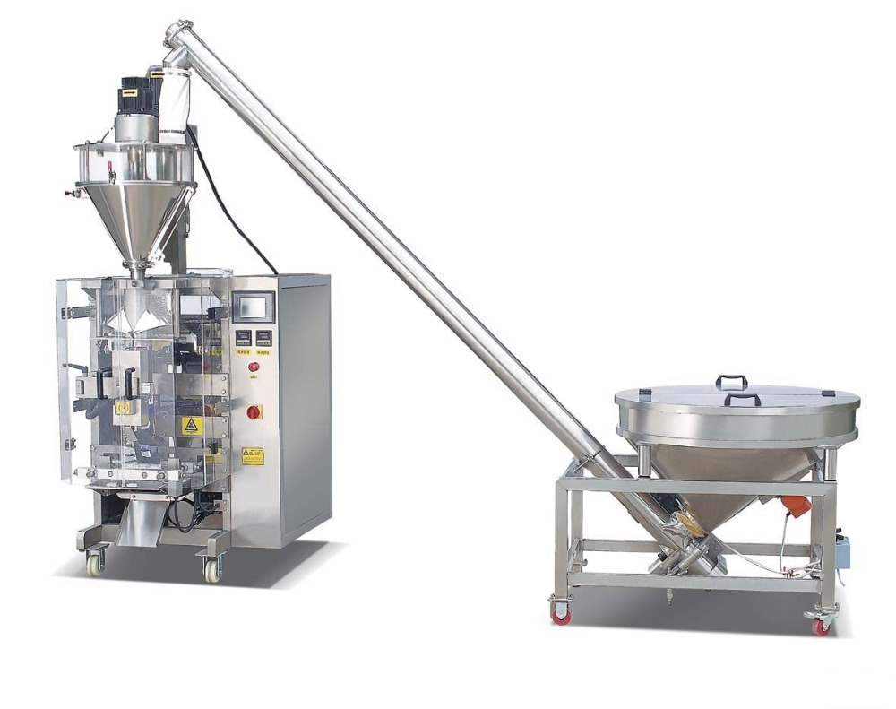 automatic pellet packing machine with robot palletizer stacking on pallet