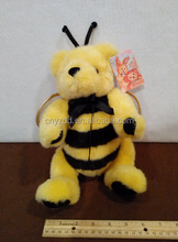 "bee plush stuffed toys/11"" Plush Bumble bee Bear with wings Movable joint legs stuffed animal"