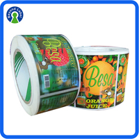 Full Color Logo Customized Self Adhesive Apple Juice Label, Waterproof Printed Plastic Bottle Labels