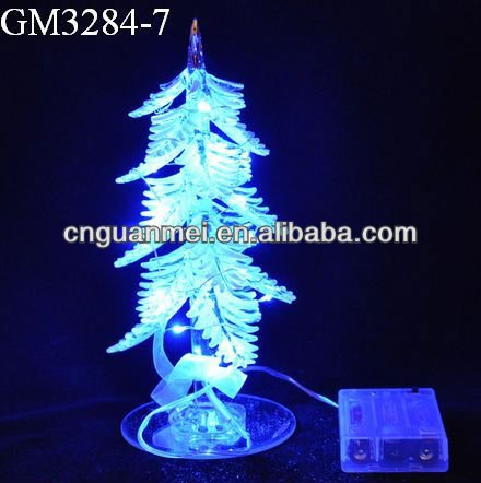 electric glass christmas tree with LED light