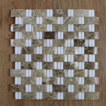 Decorstone24 Groutless Marble Mosaic Backsplash Tile Light Emperador & Thassos White