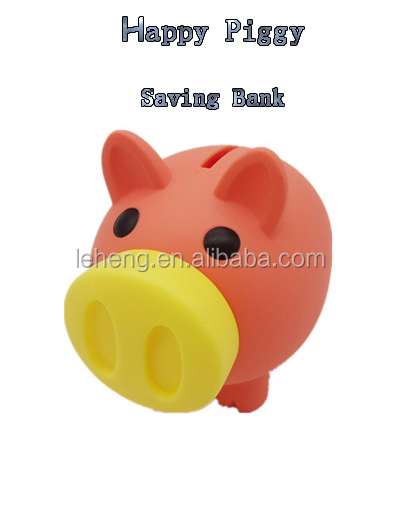New arrival plastic orange pig with yellow soft and voice nose money saving box