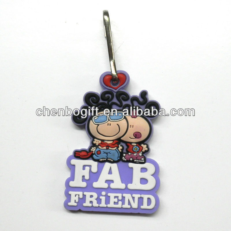 Hot sale 3d raised rubber key chain, cartoon soft pvc 3d key chains