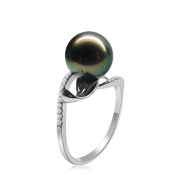 Wonderful Natural Tahitian Black Pearl 9.5-10mm Silver Ring in Micro Setting in Good Quality