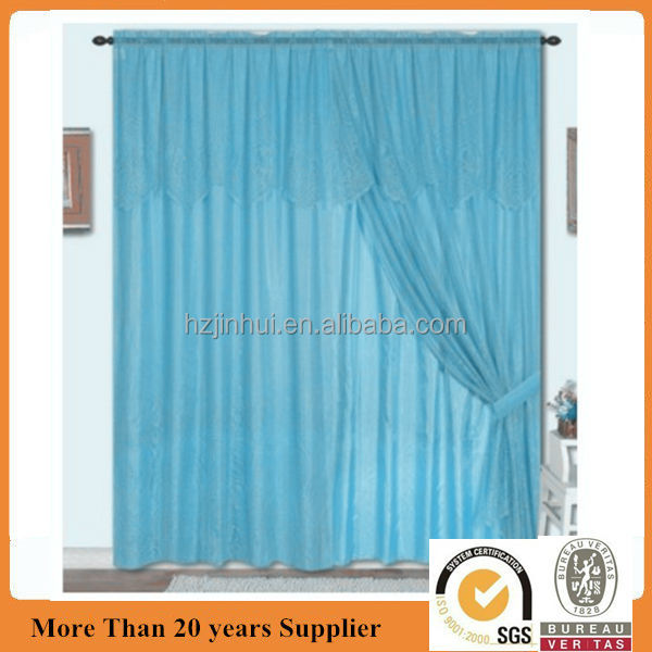 Polyester Lace Curtain With Valance /Taffeta lining window curtain