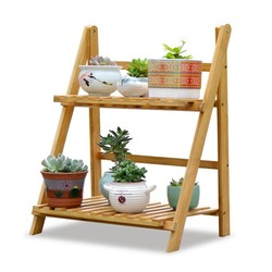 Decorative Bamboo Pot Stand Flower Corner Shelf Ladder With Decor