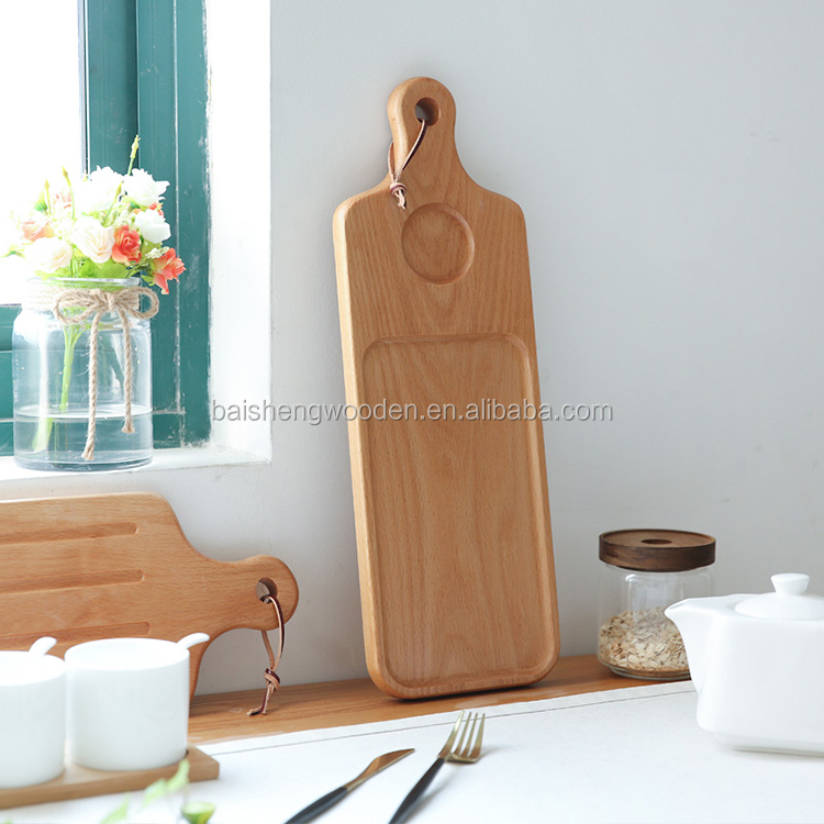 handmade wooden bread cutting board 2 side usable beech wood pizza tray