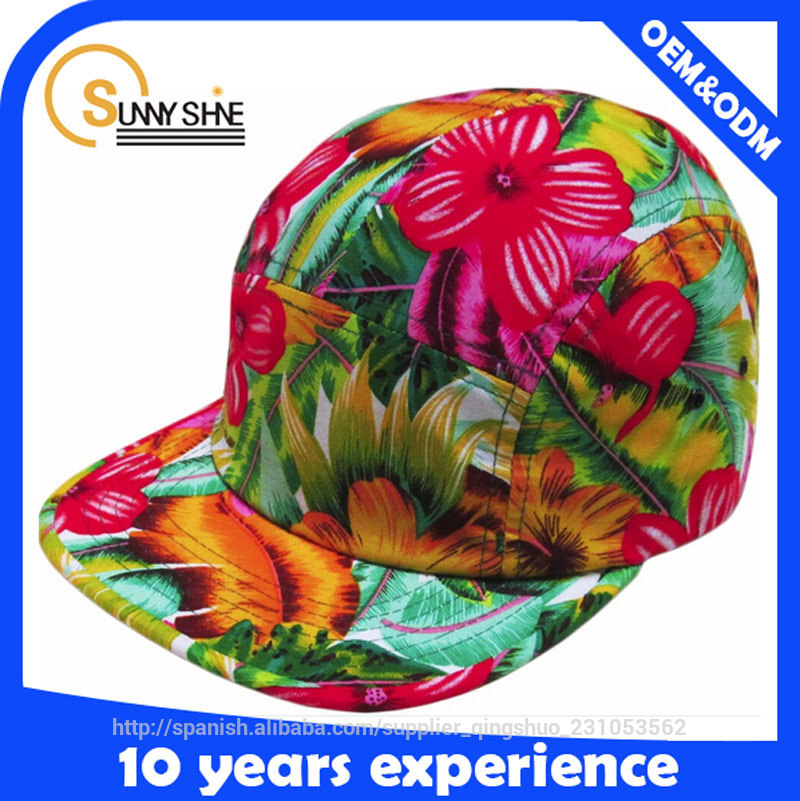 promotional nylon strap custom floral 5 panel snapback hats wholesale