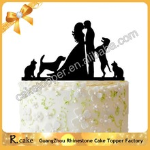 New Design Acrylic Cake Toppers Figure Wedding , Acrylic Cake Topper Silhouette Bride and Groom with Dog