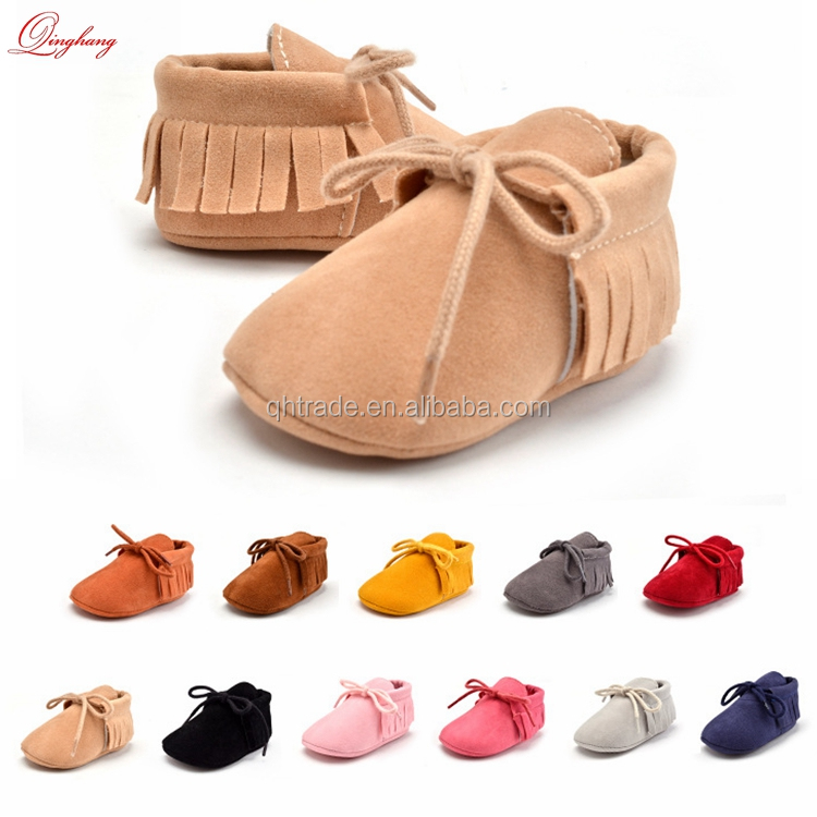 Baby Moccasins - Soft Sole Leather Boys and Girls Prewalker Shoes for Infants, Babies, and Toddlers