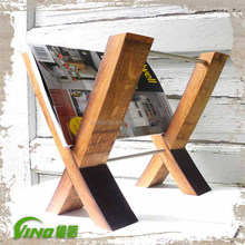 Vintage Wooden Magazine Display Rack,Rustic Metal Wall Mount Book Shelf,Homemade Folding Wine Barrel Storage Stand