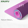 New design Yoga Mat Non slip Two Layer shell Leaves Patten No Smell High Density TPE with Elastic Rope and Carrying Bag