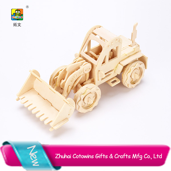 Hot selling diy 3d wooden puzzle import china product kids farm car toy