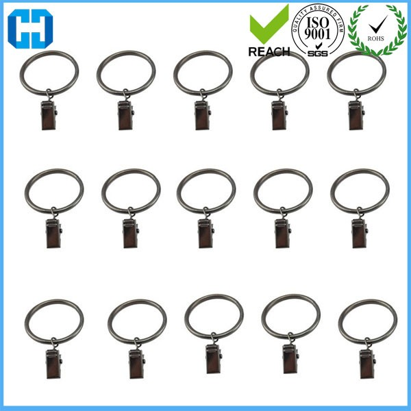 Stainless Steel Drapery Window Shower Curtain Hook Rod Clips Rings