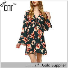www six photo com women bell sleeve floral empire waist dress