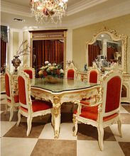 Luxury French Rococo Style Angel Dining Table Set/ Antique Palace Wood Carved Hand Painted Table/ Home Dining Room Furniture