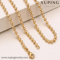 Wholesale high quality 18k gold custom name bead chain necklace