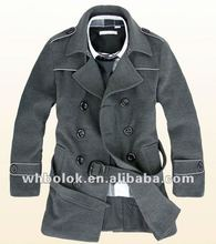 Fashionable man coat double breasted with waist belt men's wool casual coat