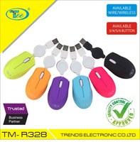 Super Mini Retractable Optical Mouse TEE Mini R328 colorful Mouse for travelling