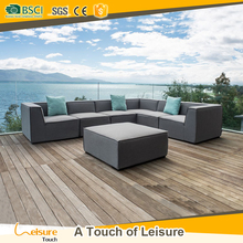 Pen-y-fai upholstery fabric L shaped indoor sofa & outdoor combined fabric corner sofa used garden furniture