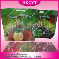 Chinese manufacture making Plastic apple grapes fruit zipper packaging bag