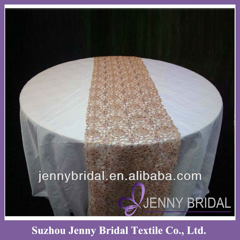 TR008A chemical lace gold sequin beaded table runner