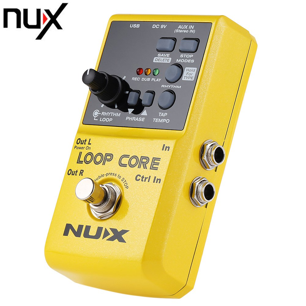 NUX Loop Core Guitar Pedal True Bypass Design Effects with Aluminum Alloy Housing Built-in Drum Pattern