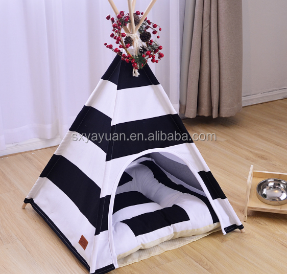 Foldable Indoor Wooden House For Pet Dog Cat Indian Tent