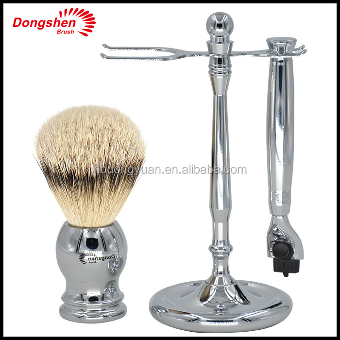Silvertip Badger hair metal shaving Brush set with a razor and stand