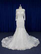 Illusion sheer lace neck 3 4 lace sleeves mermaid wedding dress pattern