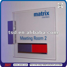 High quality clear acrylic door sign with silk screen printing for meeting room