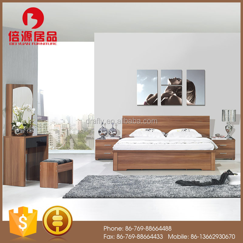 Modern glossy walnut gas lift-up bedroom furniture