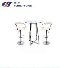 PU leather chrome bar stool parts with bar table