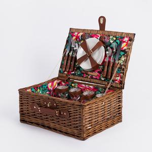 Rectangular fancy handmade box rattan willow storage hamper empty wicker gift food fruit picnic baskets for