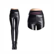 Girls Sexy Shiny Skinny PU Faux Leather Tights Leggings Elastic Stretch Long Full Pants