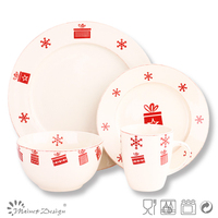 Christmas stamp green snowflakes print series stoneware tableware dinnerware set