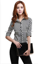 2015 hot selling fashion comfortable long sleeve striped slim office dress/formal shirts for women/ladies with pointed collar
